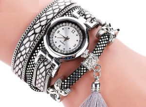 Damski Zegarek luxury watch Wrap srebrny pompon