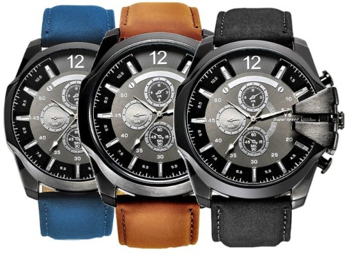 Bardzo dobryFantastyczny Zegarek sportowy skórzany Męski duży V6 Super Speed - Sklep QW71