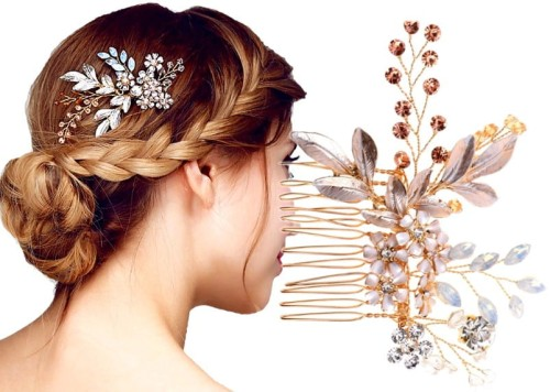 05c89ca425bab6 Złoty Grzebyk na ślub kryształ ozdoba do włosów kwiaty cyrkonie